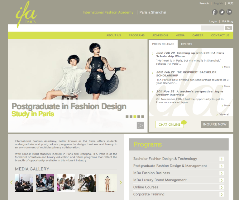 IFA Paris fashion school, web design by Sekkei Studio