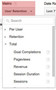 Google Analytics Cohort Analysis - Metric - User retention