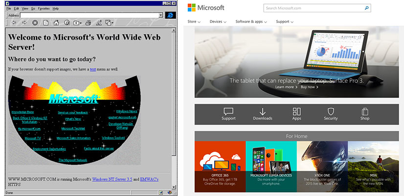 Microsoft website - Mobile versus Desktop - Sekkei Studio