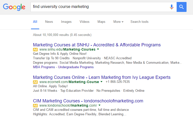 "Paid Search - ""Find University Course Marketing"""