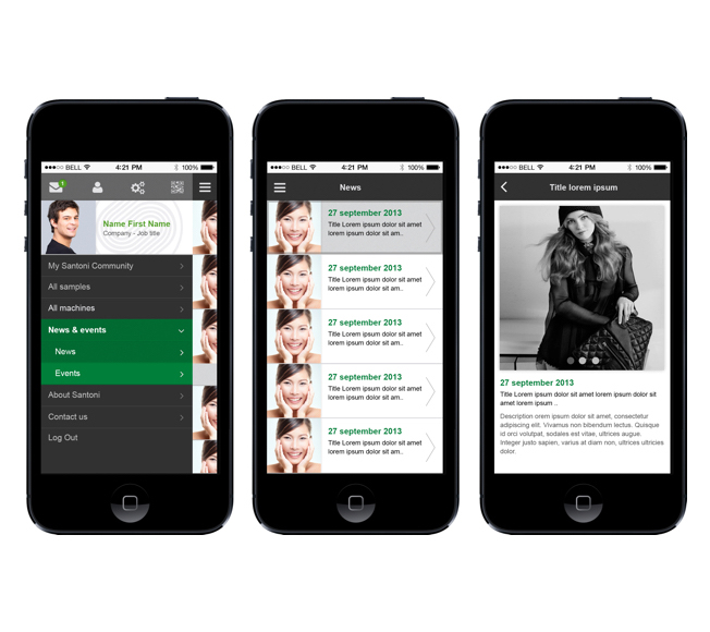 Development of the Santoni mobile app on iOS and Android